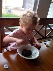 Daddy serves breakfast