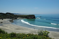 The flat liquid version of the Pacific Ocean, Small bay with the tide coming in, Coast, California, USA 6029