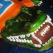 Gator cake holding the football