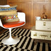 vintage suitcases as side table