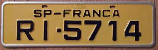 BRASIL, FRANCA, SAO PAULO STATE 1997 plate