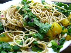 vegetable(0.0), linguine(0.0), fettuccine(0.0), produce(0.0), chinese noodles(0.0), carbonara(0.0), fried noodles(1.0), lo mein(1.0), vegetarian food(1.0), bucatini(1.0), spaghetti(1.0), pasta(1.0), spaghetti aglio e olio(1.0), food(1.0), dish(1.0), cuisine(1.0), chow mein(1.0),