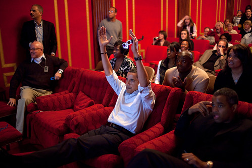 Obama watches the Super Bowl
