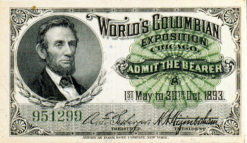 Ticket with portrait of Abraham Lincoln