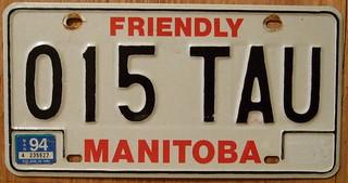 MANITOBA 1994 RED-BLACK on WHITE 1983 baseplate