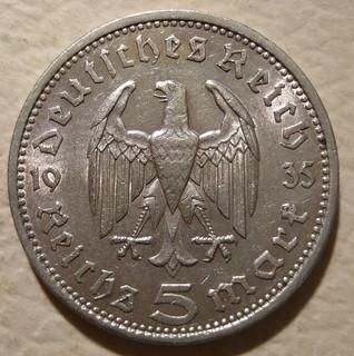 GERMANY ---5 REICHSMARK 1935, NO SWASTIKAS a