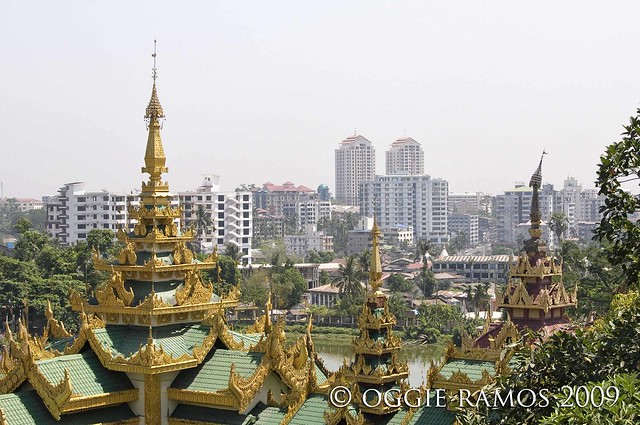 myanmar yangon skyline from shwedagon