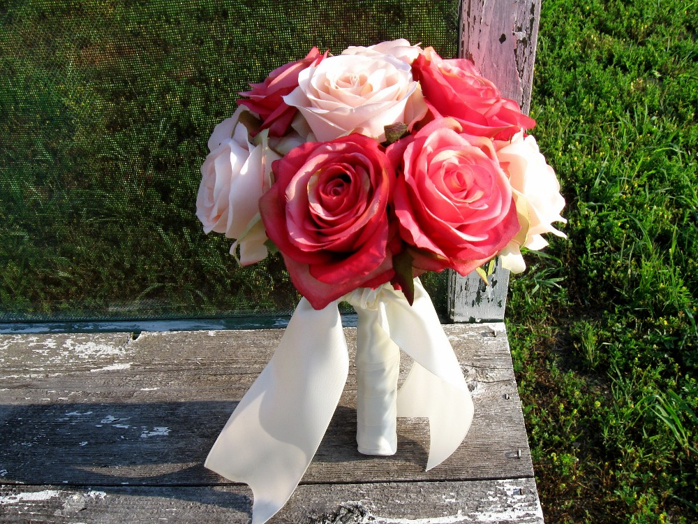 Pink Rose Silk Bridal Bouquet