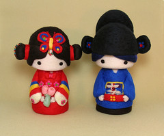 Korean Hanbok Cutie Couple--cake topper