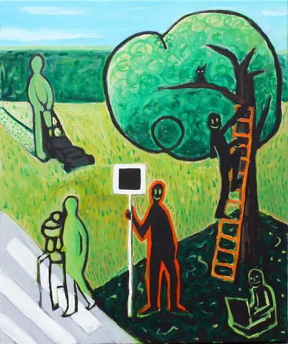 Ilustración: una calle cualquiera, con gente haciendo cosas normales. También hay un artista que observa