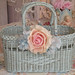 Vintage blue wicker basket