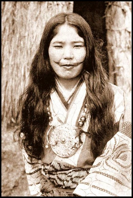 FEMALE and TAKEN --- Another Mustachioed Ainu Babe in OLD JAPAN