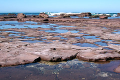 water, sea, ocean, bay, tide pool, body of water, geology, natural environment, mudflat, wave, shore, coast, rock,