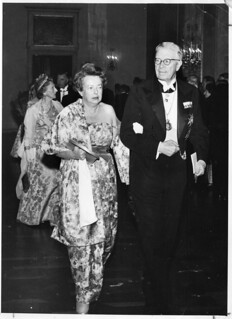 Maria Goeppert-Mayer (1906-1972), walking in to the Nobel ceremony with King Gustaf Adolf