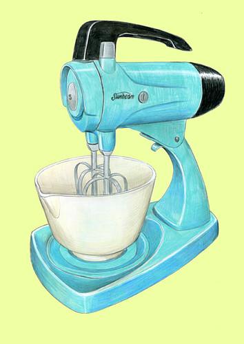 Retro Mixer - pencil drawing