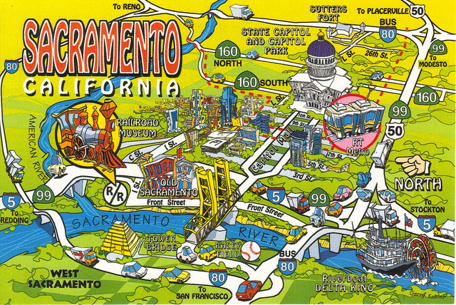 California State Sacramento City Map Postcard  A Photo On