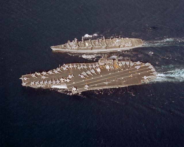 USS Sacramento UNREPs Kitty Hawk