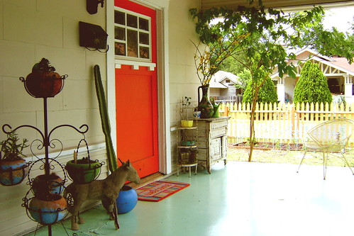 orange red door.