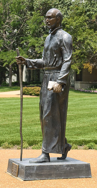 "Statue of Saint Ignatius Loyola (""The Pilgrim"" by Vicki Reid), at Saint Louis University, in Saint Louis, Missouri, USA"