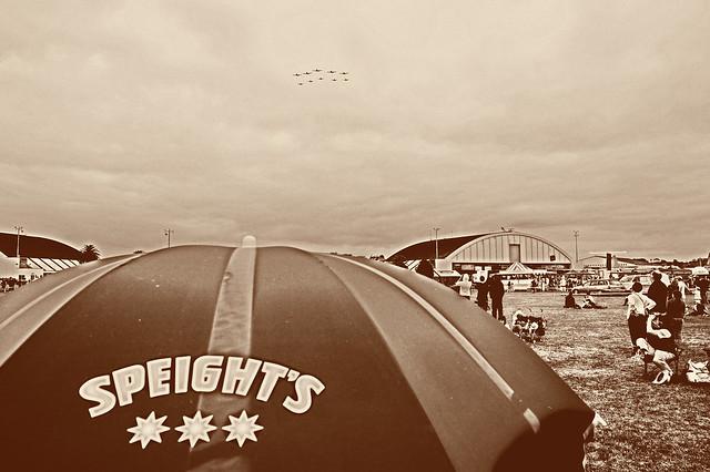 Speight's umbrella & aerobatic planes - Whenuapai Air Show 2009