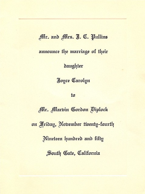 Vintage Wedding Invitation, 1950