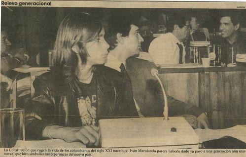 Iván Marulandad con su hijo durante la constituyente de 1991