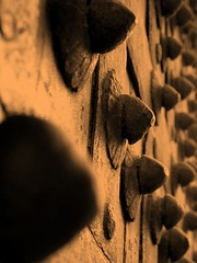 Worn out spikes on the Lahore Fort gate