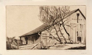 Alice Heun: Barn and Cows, 1934