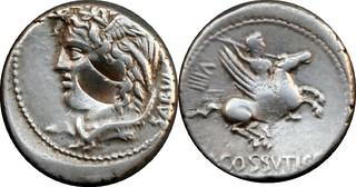 72BC 395/1 #04124-39 L.COSSVTI C.F. SABVLA Medusa Bellerephon on Pegasus Denarius