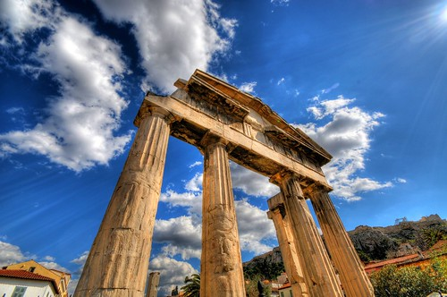 The Gate of Athena Archegetis to the Roman Forum in Athens, Greece