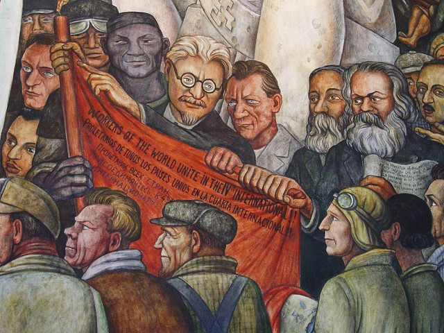 Detail of diego rivera mural leon trotsky karl marx for Diego rivera creation mural
