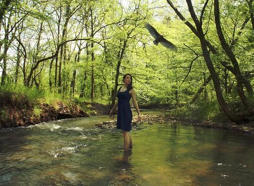 selfportrait water girl creek woods brunette turkeyvulture birdinflight bluedress haphotography