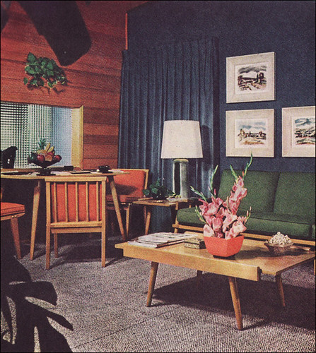 1950s Living Room with Camouflage Draperies