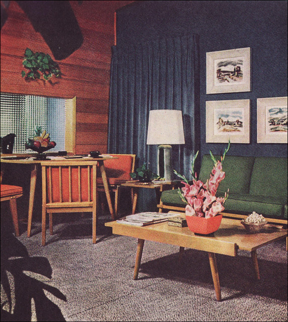 1950s living room with camouflage draperies this was for 1950s apartment design