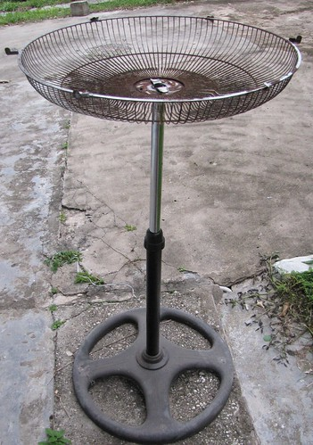 Bird feeder: Recycled fan.