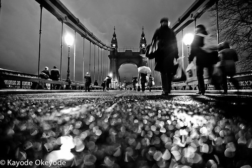 Hammersmith Bridge on a rainy night