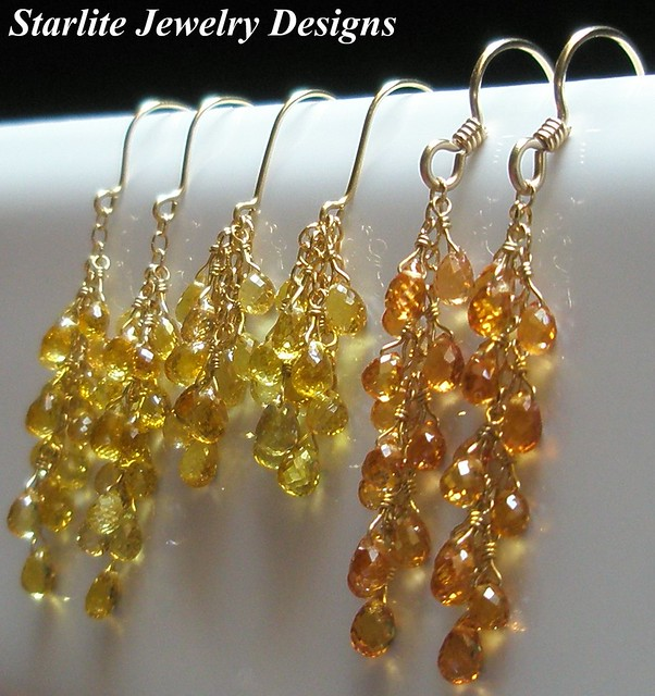 Sapphire Briolette Earrings ~ Solid 18K and 14K Gold ~ Starlite Jewelry Designs ~ Canary Yellow ...
