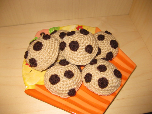 chocolate chip cookies on cupcake plate