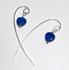 Lapis hearts on long wires
