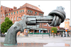 Twisted gun sculpture in Malmö - Sweden