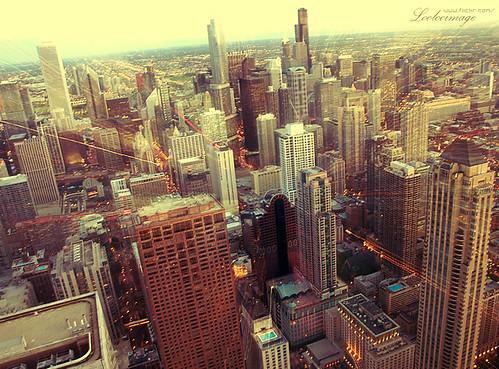 city travel sunset usa chicago skyline america buildings lights illinois downtown skyscrapers searstower bigjohn johnhancockcenter birdview 美国 芝加哥 伊利诺伊州
