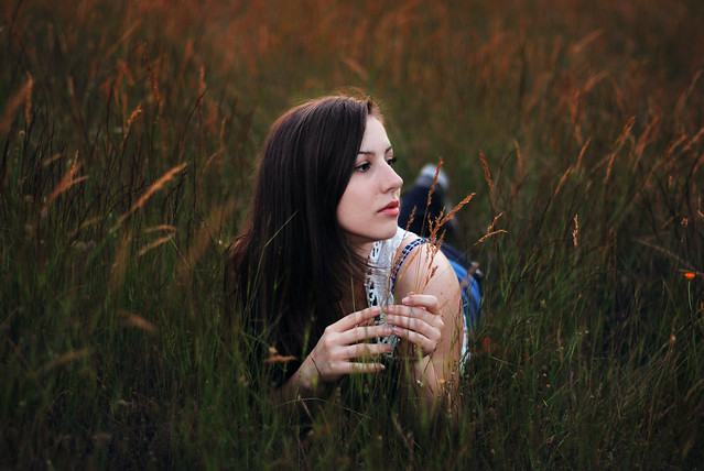 outdoor portrait in tall grass