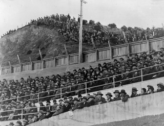 Spectators watching a rugby game between Wellington and Great Britain at Athletic Park, Wellington, Tuesday 3 June 1930