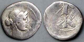 482/1 Julius Caesar or Octavian Denarius CAESAR IMP. Venus, Trophy, below chariot spears shield, AM#03126-34. Exceedingly rare.