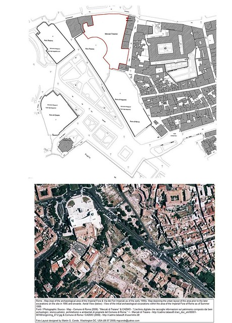 Rome - the Forum of Nerva. Excavations and Discoveries (1989-2009). (Above) - Plan of the pre-excavations area layout of the Imperial Fora / Forum of Nerva, (Below) - Satellite view of the excavations in the Imperial Fora (late 1998).