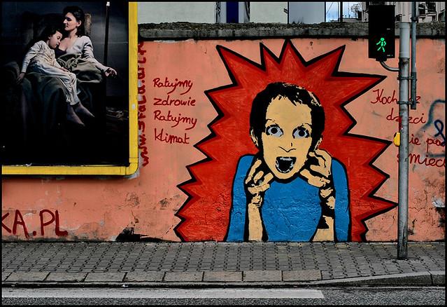 Street art à Powisle : Sauvons la santé, sauvons l'environnement - Photo de aNdrzej cH.