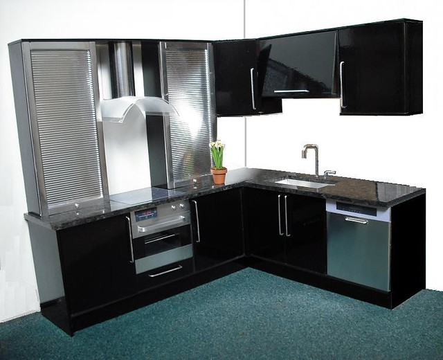 Playscale kitchen in black with steel Flickr - Photo Sharing!