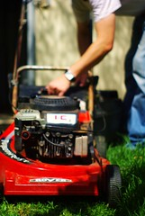 city car(0.0), outdoor power equipment(1.0), machine(1.0), vehicle(1.0), tool(1.0), mower(1.0), lawn mower(1.0),