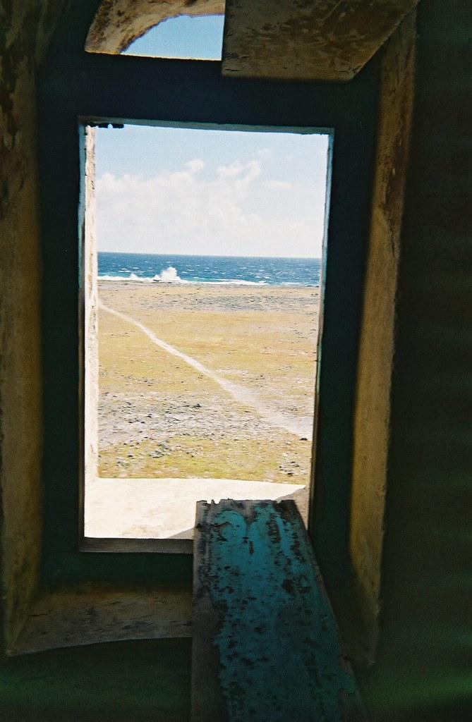 Through Klein Curacao lighthouse window