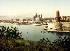 Lighthouse and cathedral, Marseille, France, ca. 1895